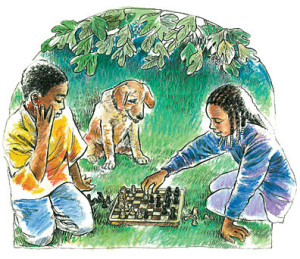 Children playing chess on grass