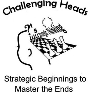 Chess Logo, picture of head with chess pieces and board.