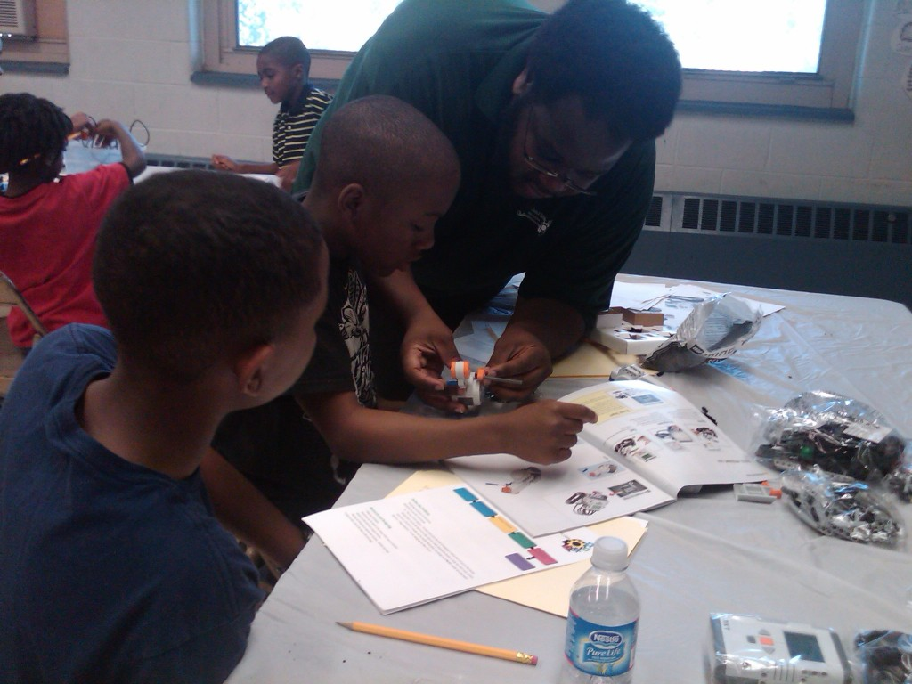 Hanif Bady robotic instructor teaches summer camp at Mt. Airy Playground